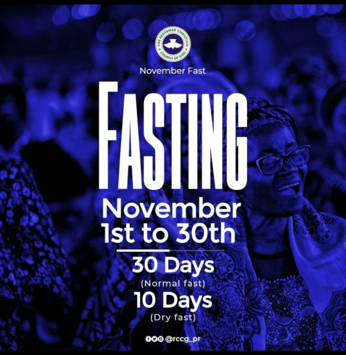 RCCG November 2019 30 Days Fasting Prayer Points, RCCG November 2019 30 Days Fasting Prayer Points