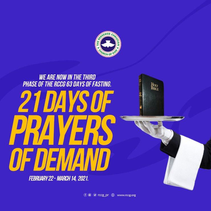 RCCG FASTING AND PRAYER POINTS 24TH FEBRUARY 2021 - DAY 3