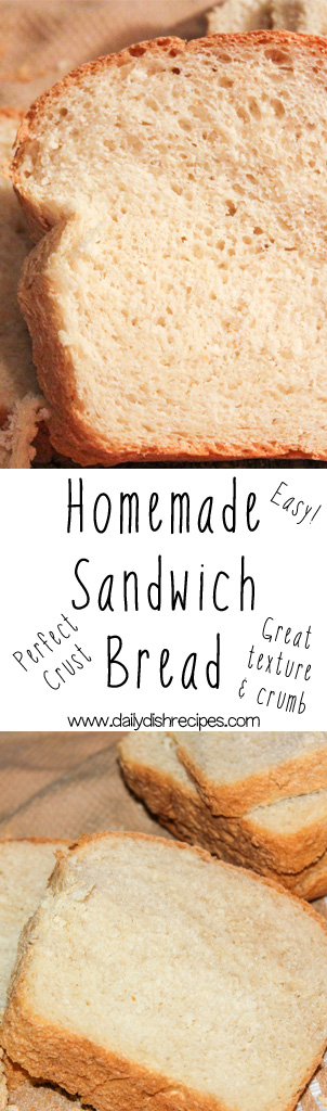 The Best Homemade Sandwich Bread recipe. It has the perfect crust, a great texture and crumb and tastes delicious! The reviews don't lie, and this bread recipe has become a favorite with anyone who tries it! Super easy recipe!