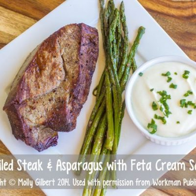 Broiled Steak and Asparagus with Feta Cream Sauce #weekdaysupper