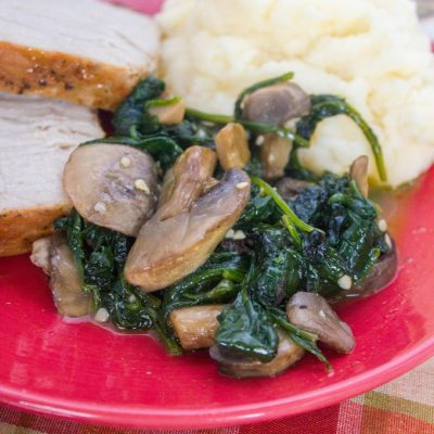 Garlic Butter Spinach and Mushrooms Paired with Idahoan Signature Russets