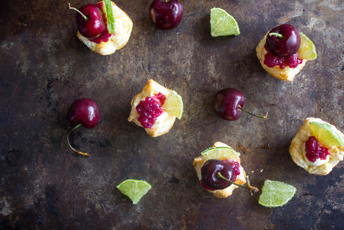 Cherry Lime Puff Pastry Tarts
