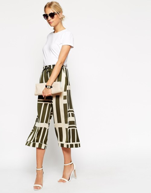 asos green pattern culottes
