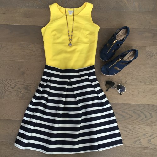 jcrew yellow tanktop chicwish striped skirt outfit