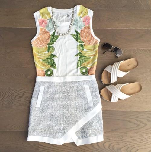 banana republic skirt jcrew top outfit