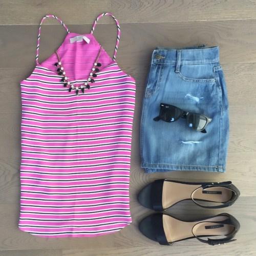pink striped loft tank jcrew necklace outfit