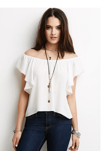 forever21 butterfly wing off the shoulder top