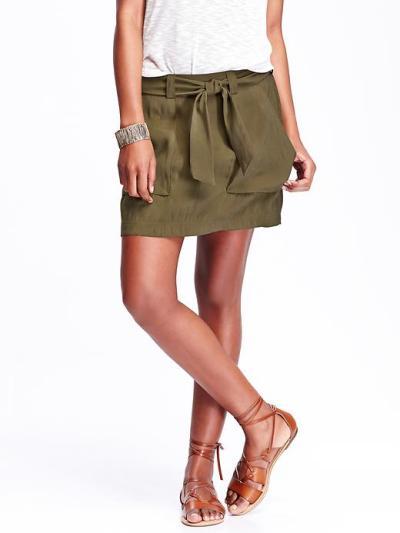 old navy green belt skirt