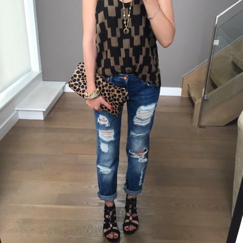 clare vivier leopard clutch outfit