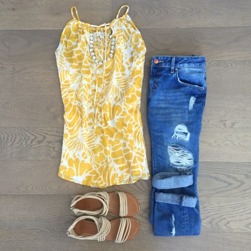 loft yellow tank top outfit