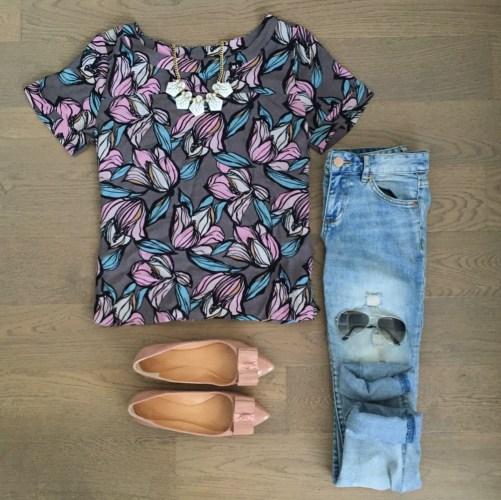 loft floral top joe fresh jeans outfit