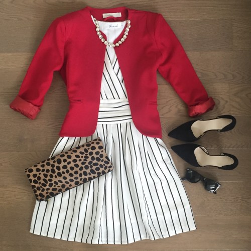 chicwish striped dress red blazer leopard clutch outfit
