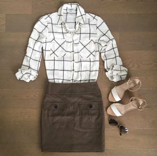express grid pattern top outfit