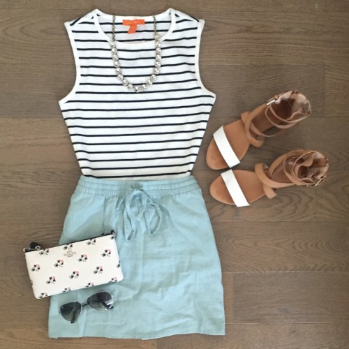 joe fresh striped tank coach wristlet outfit