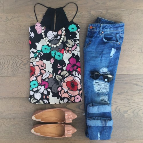 express tank top jcrew flats outfit