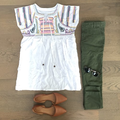 Chicwish embroidered top green pants outfit