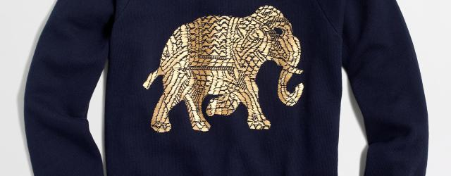 jcrew factory metallic elephant sweatshirt