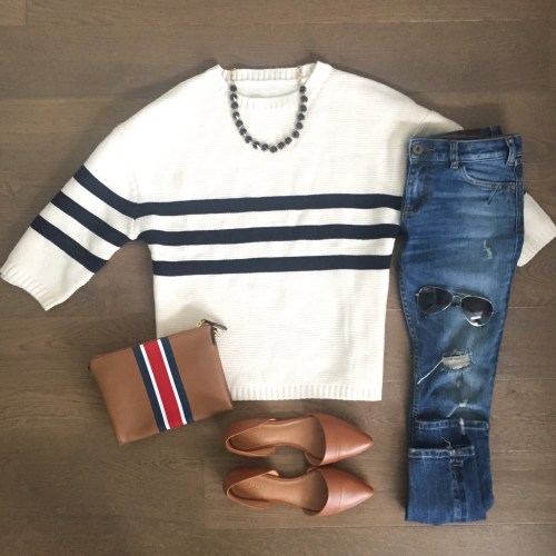 chicwish striped sweater outfit