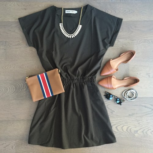 choies army green dress old navy clutch outfit