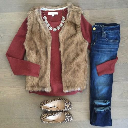 loft sweater faux fur vest