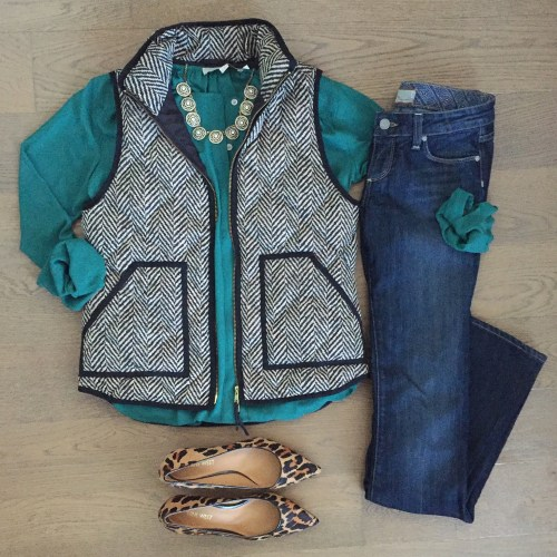 loft top jcrew herringbone vest outfit