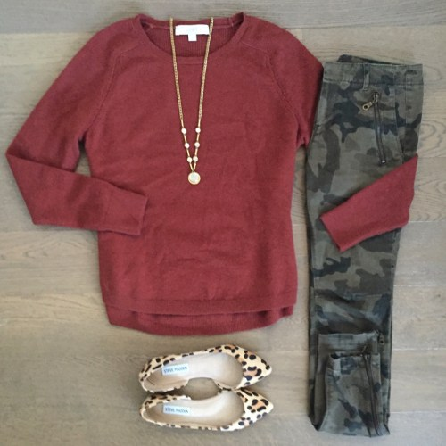 loft sweater and steve madden leopard flats outfit