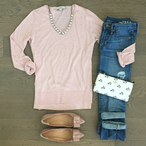 pink loft sweater outfit