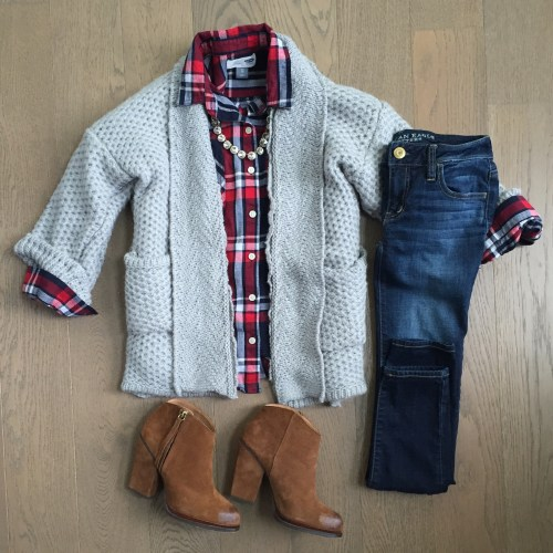 Chicwish grey cardigan and plaid top outfit