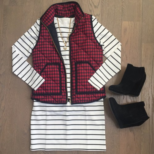 jcrew buffalo plaid vest and hm striped dress outfit