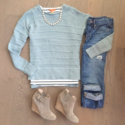 hm teal sweater and stripes outfit