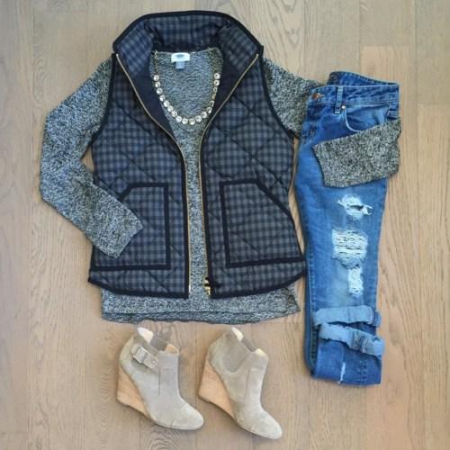 jcrew factory vest outfit