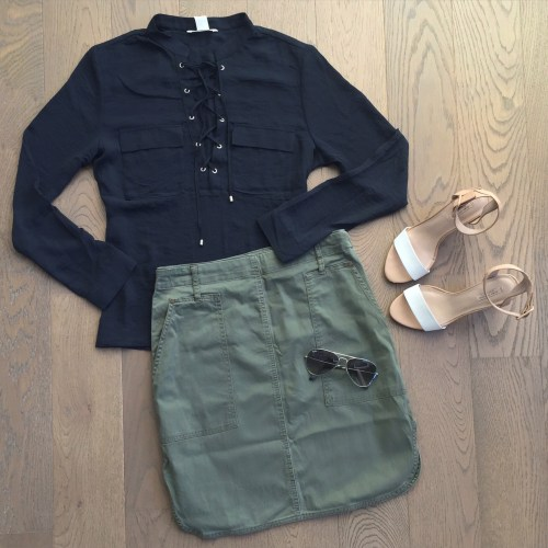 joe fresh khaki skirt and hm tie up shirt outfit