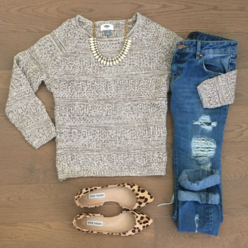 old navy sweater steve madden leopard flats outfit