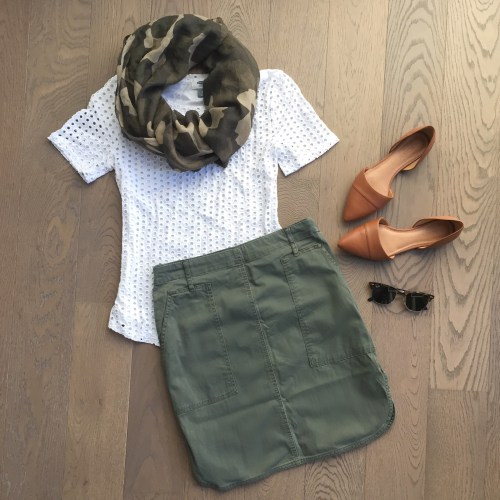 joe fresh khaki skirt outfit camo scarf