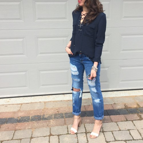 hm criss cross blouse outfit