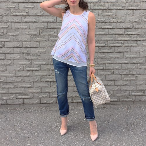 pink chevron hm top outfit