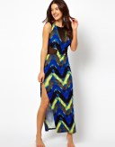 Printed Mesh Insert Maxi Beach Dress