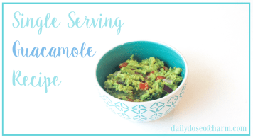 Single serving guacamole recipe perfect for college students or after school snacks for kids, healthy snack, by lauren lindmark on daily dose of charm