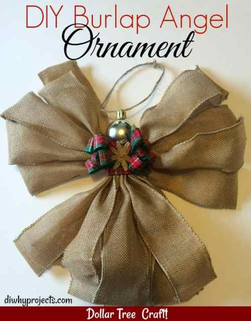 Burlap Angel Ornament Dollar Tree Craft