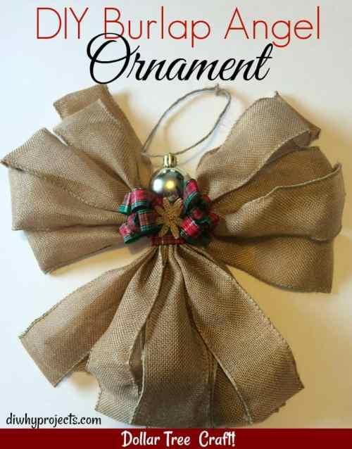 Burlap Angel Ornament Dollar Tree Craft