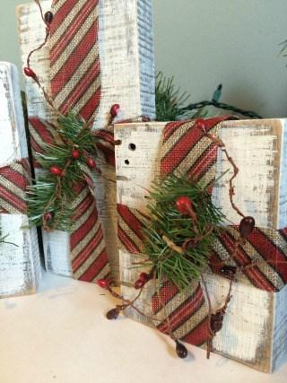 Rustic Christmas Wood Block Gift Decor
