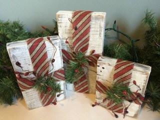 Rustic Christmas Wood Gift Box Decor