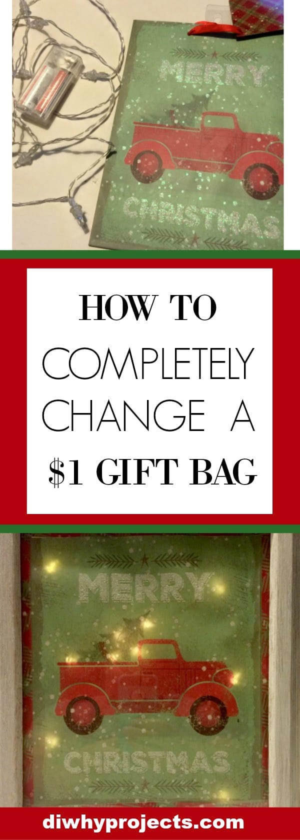 Change $1 Christmas Bag to Light Up Sign
