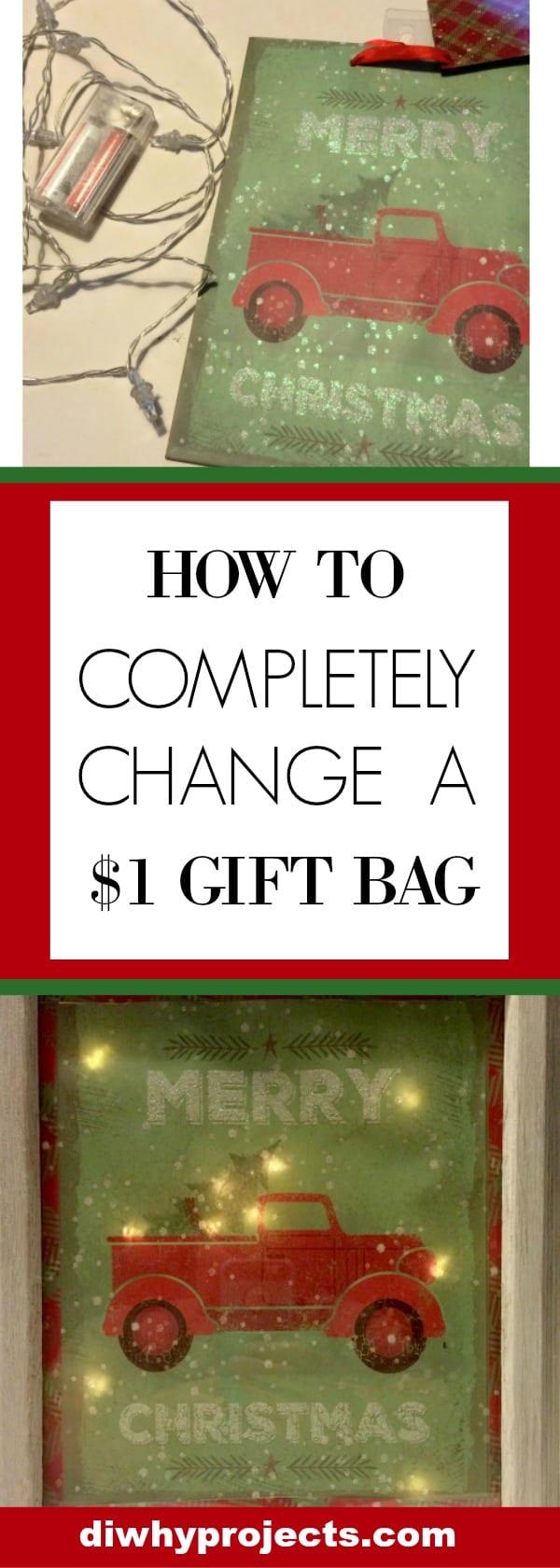 Change $1 Christmas Bag to Light Up Sign