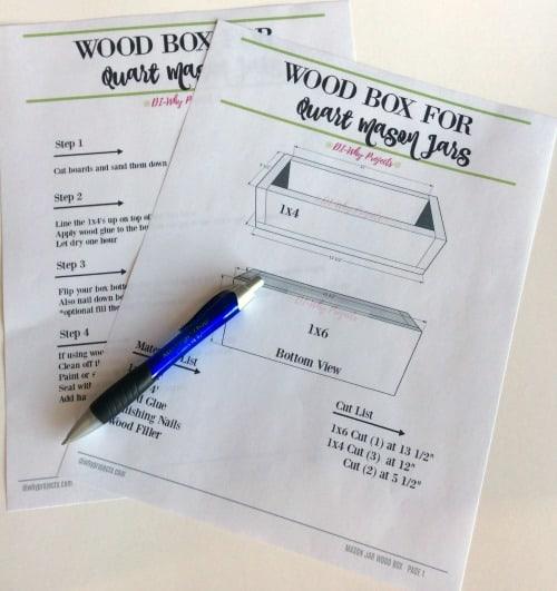 printable plans for quart size mason jar box