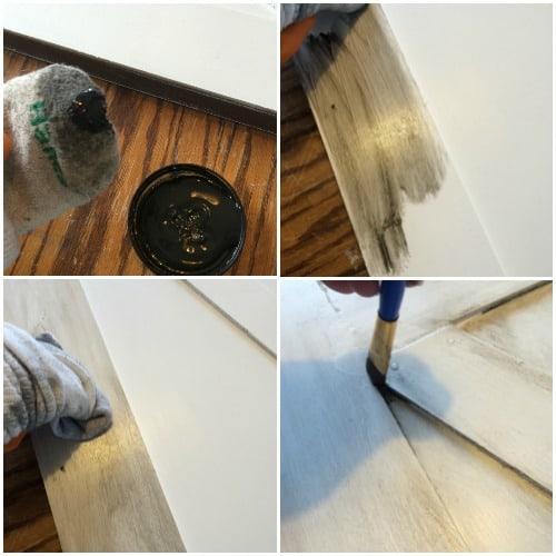 applying antique glaze to painted hollow core door