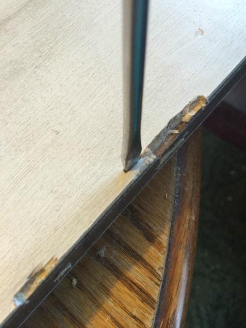Hollow core door to barn door notching the hinges