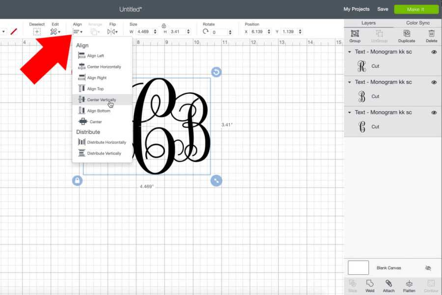 Align your monogram initials vertically in Cricut Design Space