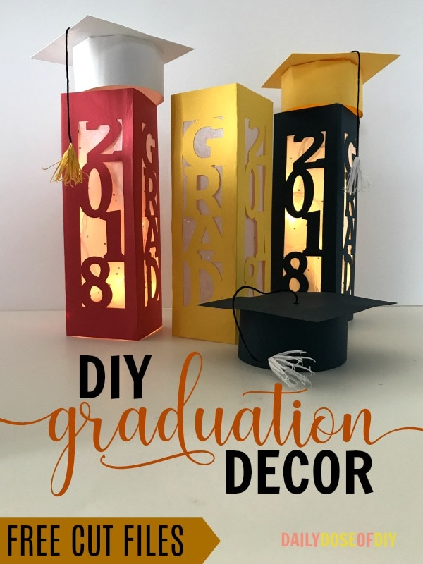 DIY Graduation Party Decor- Make paper lanterns and graduations caps with these free cut files