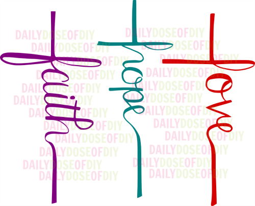Free SVG File Faith Hope Love Cross